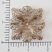 "(Pkg. Of 12) 2"" Square Flat Filigree  (Brass Ox.)"
