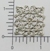 (Pkg. Of 12) Ornate Square Filigree (Matte Silver Ox.)