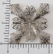 "(Pkg. Of 12) 2"" Dapped Ornate Sq.Filigree (Matte Silver Ox.)"