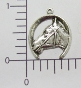 (Package Of 12) Horseshoe/Horse Head Charm (Matte Silver Ox)
