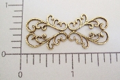 (Package Of 12) Filigree Swirls Lace Bar Shape (Brass Ox)