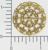(Package Of 12) Round Victorian Filigree (Brass Ox)