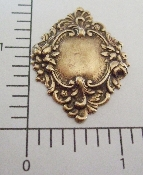 (Package of 12) Ornate Floral Framed Tag (Brass Ox)