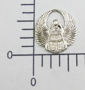 2 Pc Sm. Round Wings Charm Finding Silver Ox