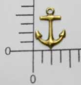 46403 - 12 Pc Small Anchor Charm Brass Ox