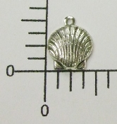(Package of 12) Clam Shell Charm (Matte Silver Ox)