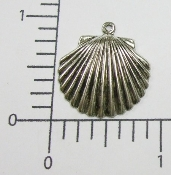 (Package of 12) Seashell Charm (Matte Silver Ox)