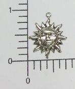 (Package of 12) Small Sun Charm (Matte Silver)