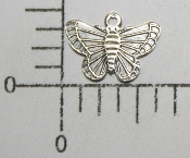 (Package Of 12) Small Butterfly Charm (Matte Silver)