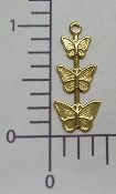(Package Of 12) Triple Butterfly Charm (Antique Gold)