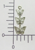 (Package Of 12) Triple Butterfly Charm (Matte Silver)