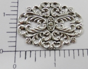 "(Package of 12) 1-3/4"" x 1-3/8"" Ornate Filigree (Matte Silver)"