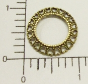 "(Package Of 12) 1"" Round (Hearts) Open Filigree (Brass Oxidized)"