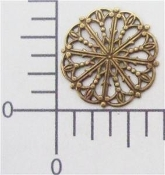 Victorian Round Filigree, Brass Ox, Brass Finding (pkg of 12)