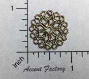 Victorian Round Filigree Antique Brass Ox (Pkg of 12)