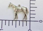 Horse Charm Brass Jewelry Finding, Matte Silver Ox (pkg of 12)