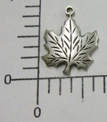 Maple Leaf Charm Jewelry Finding, Matte Silver Ox (pkg of 12)