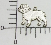 Bulldog Charm w/Ring Matte Silver Ox (pkg of 12)