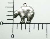 12 Pc Small Bear Charm Jewelry Finding w/Ring Matte Silver Ox