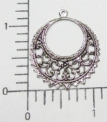Filigree Dangle Jewelry Finding Round w/Ring Matte Silve Ox (12)