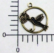 35593 - 4 Pc Hummingbird Charm Jewelry Finding Brass Ox