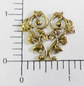 Floral Scroll Filigree Jewelry Finding Brass Oxidized (pkg 12)
