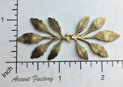31823 - 12 Pc Double End Frond Leaf Jewelry Finding Brass Ox