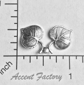 31804 - 4 Pc Double Aspen Leaf Jewelry Finding Silver Ox