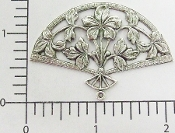 Floral Victorian Fan Jewelry Finding Silver Ox (pkg of 12)