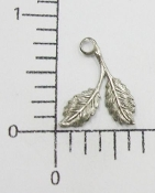 73144 Double Leaf Jewelry Charm Finding Silver Oxidized (12 Pc)