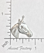 12 Pc Horse Head Charm Jewelry Finding Matte Silver Oxidize