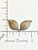12 Pc Double Leaf Jewelry Finding BRASS Ox