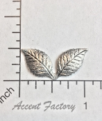 12 Pc Double Leaf Jewelry Finding Stamping SILVER Ox