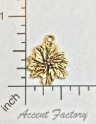 5 Pc Holiday Pointsetta Charm w/ Loop Brass Ox - LIMITED Qty's