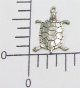 12 Pc Small Turtle Jewelry Finding Charm Silver Oxidized