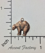 12 Pc Small Bear Charm Jewelry Finding w/Ring Copper Ox