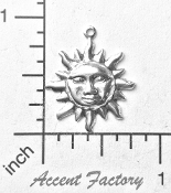 12 Pc Small Sun Charm Jewelry Finding Matte Silver Ox