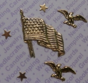 Gold Plated American Flag / Eagle / Stars Findings Blister Pack