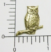 12 Pc Small Owl on Branch Jewelry Finding Brass Ox