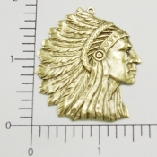 12 Pc Large American Indian Head Pendant Brass Oxidized