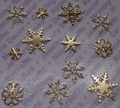 92413 -Gold Plated Assorted Snowflakes Findings x 1 Blister Pack