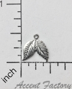 32524 - 12 Pc Leaf Charm Jewelry Finding Matte Silver Ox