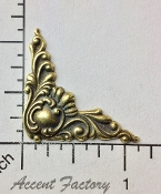 23513 - 4 Pc Victorian Corner Jewelry Finding Brass Ox