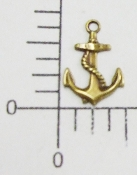 46453 - 12 Pc Small Anchor W/Rope Charm Jewelry Finding Brass Ox