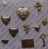 92435 -Gold Plated Astd Heart/Cupid/Love Findings x 1 Card
