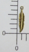 39083 - 12 Pc Small Feather Charm Jewelry Finding Brass Ox