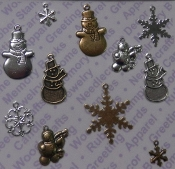 93569 -Mixed colors Asst SnowmenFlakes Jewelry Charms x 1 Card