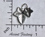 32624 - 2 Pc Victorian Ivy Leaves Jewelry Finding Silver Ox