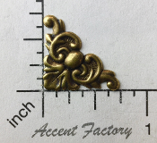 23443 - 4 Pc Victorian Corner Jewelry Finding Brass Ox