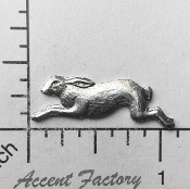 42144 - 12 Pc Running Rabbit Brass Jewelry Finding Silver Ox